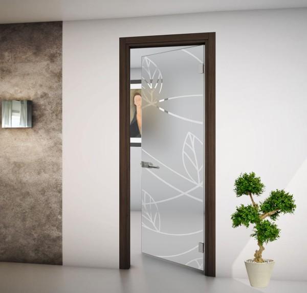 Porta interna battente vetro satinato e disegni