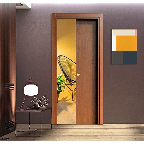 Cherry Wood Retractable Sliding Door with small handle