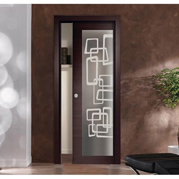 Porta a scomparsa con vetro personalizzato interno muro Porte Interne