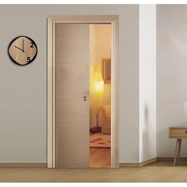 Bleached Oak Retractable Sliding Door with small handle