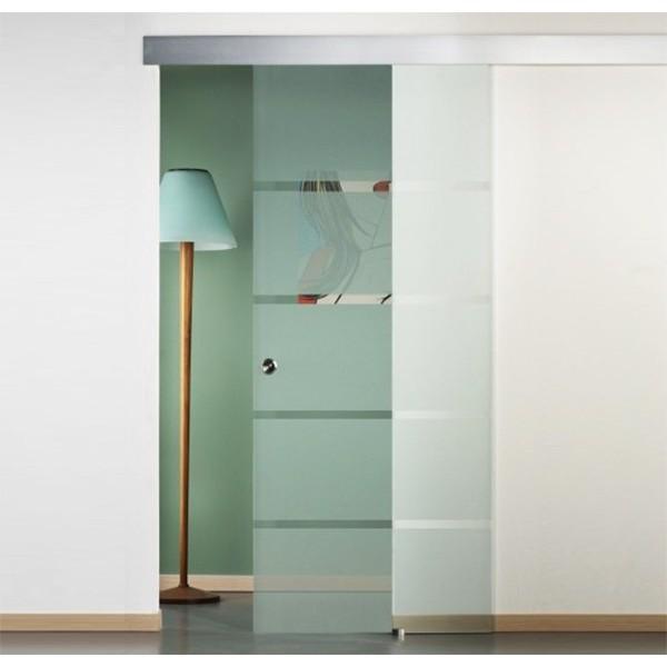 Porta scorrevole vetro con righe per foro muro 80/88 x 215