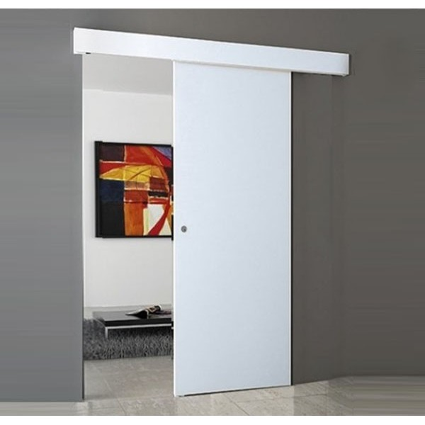 White wall flush sliding door