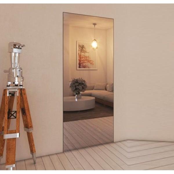 Porta Raso Muro con specchio esterno e maniglia invisibile