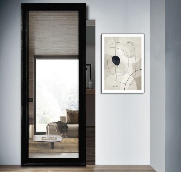 Porte scorrevoli esterno muro con specchio binario invisibile