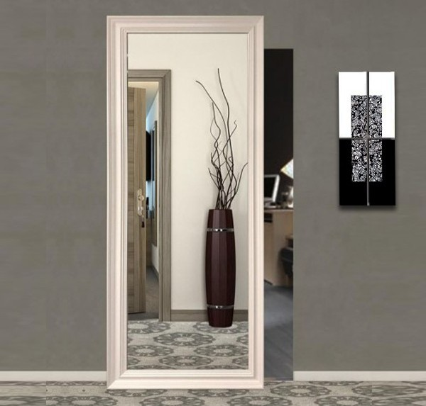 External wall sliding doors with invisible tracks mirror