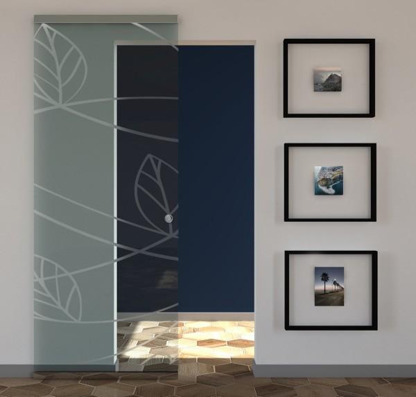Porta scorrevole vetro trasparente a disegno sabbiato MAGICAL