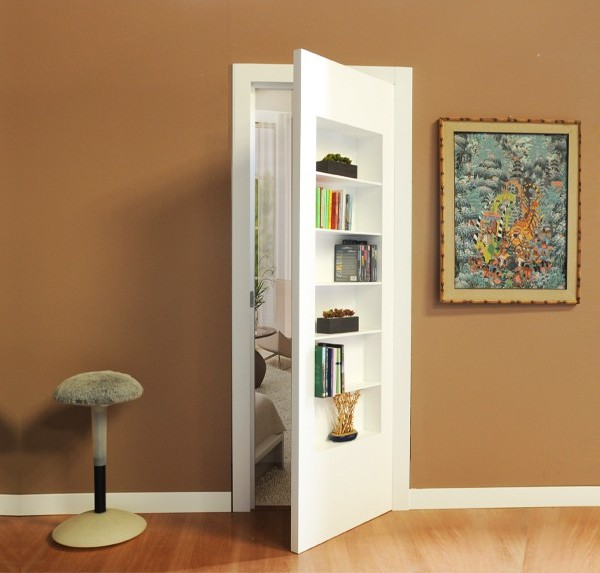 White Flush-to-wall Bookcase Door