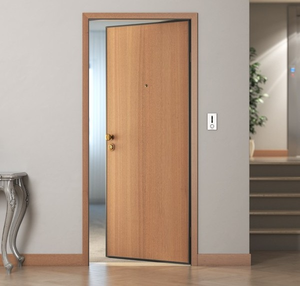 Smooth soundproof armoured door at 33 db with a magnetic sensor