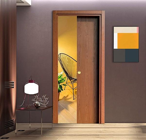 Cherry Wood Retractable Sliding Door with small handle