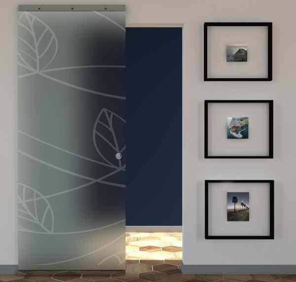 Sliding door in frosted glass and MAGICAL sandblasted design