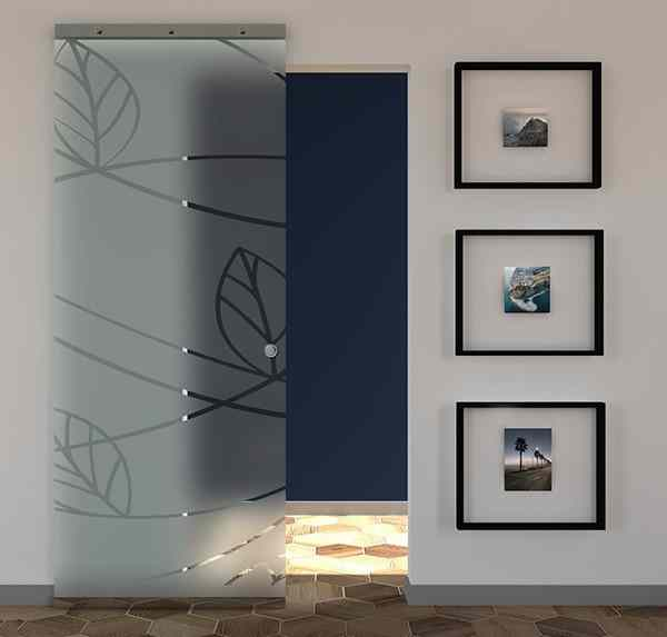 Porta scorrevole vetro satinato e disegno trasparente MAGICAL