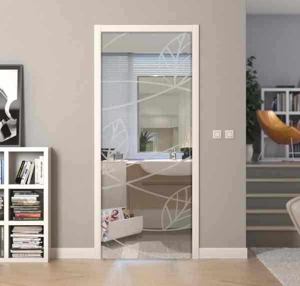 Transparent glass casket doors with sandblasted design