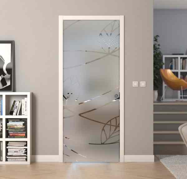 Transparent design sandblasted glass casket doors