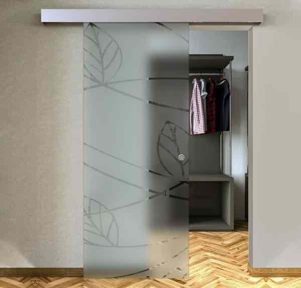Porte scorrevoli esterne con vetro satinato e disegno trasparente