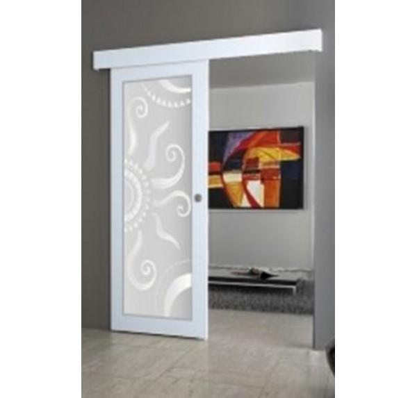 Porta filomuro scorrevole bianca con disegno | porteitaliane.com