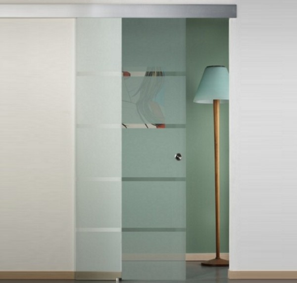 Sliding glass door with trasparent lines