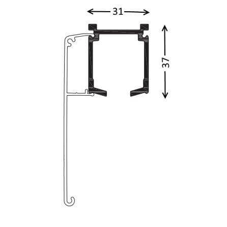 track for external sliding door with pelmet