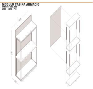 Dimensioni modulo struttura cabina armadio