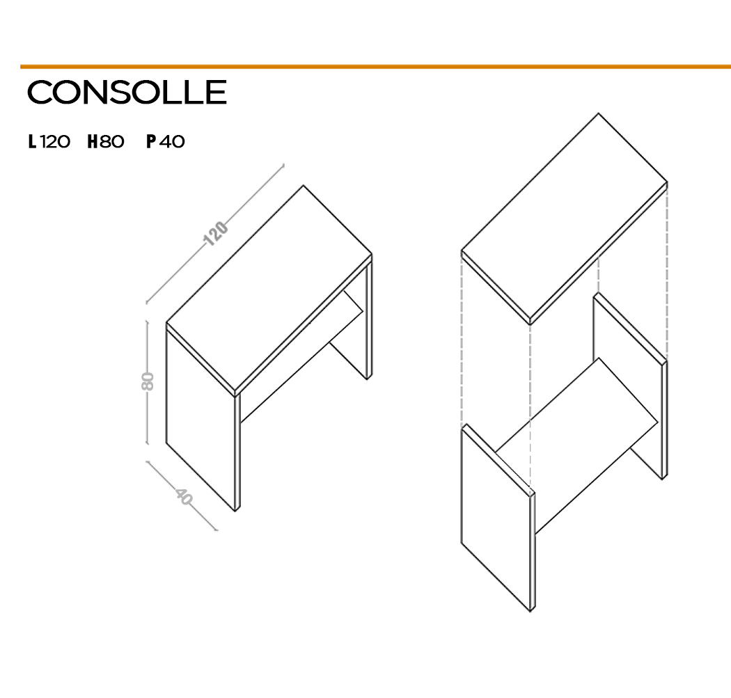 Console dimensions for entrance