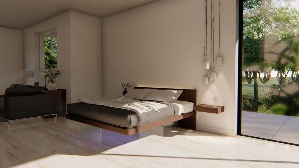 Letto matrimoniale sospeso floor bed con testier intera