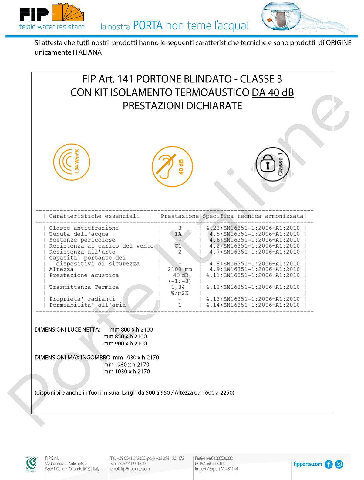 certificazione classe 3 portoncino blindato 40db