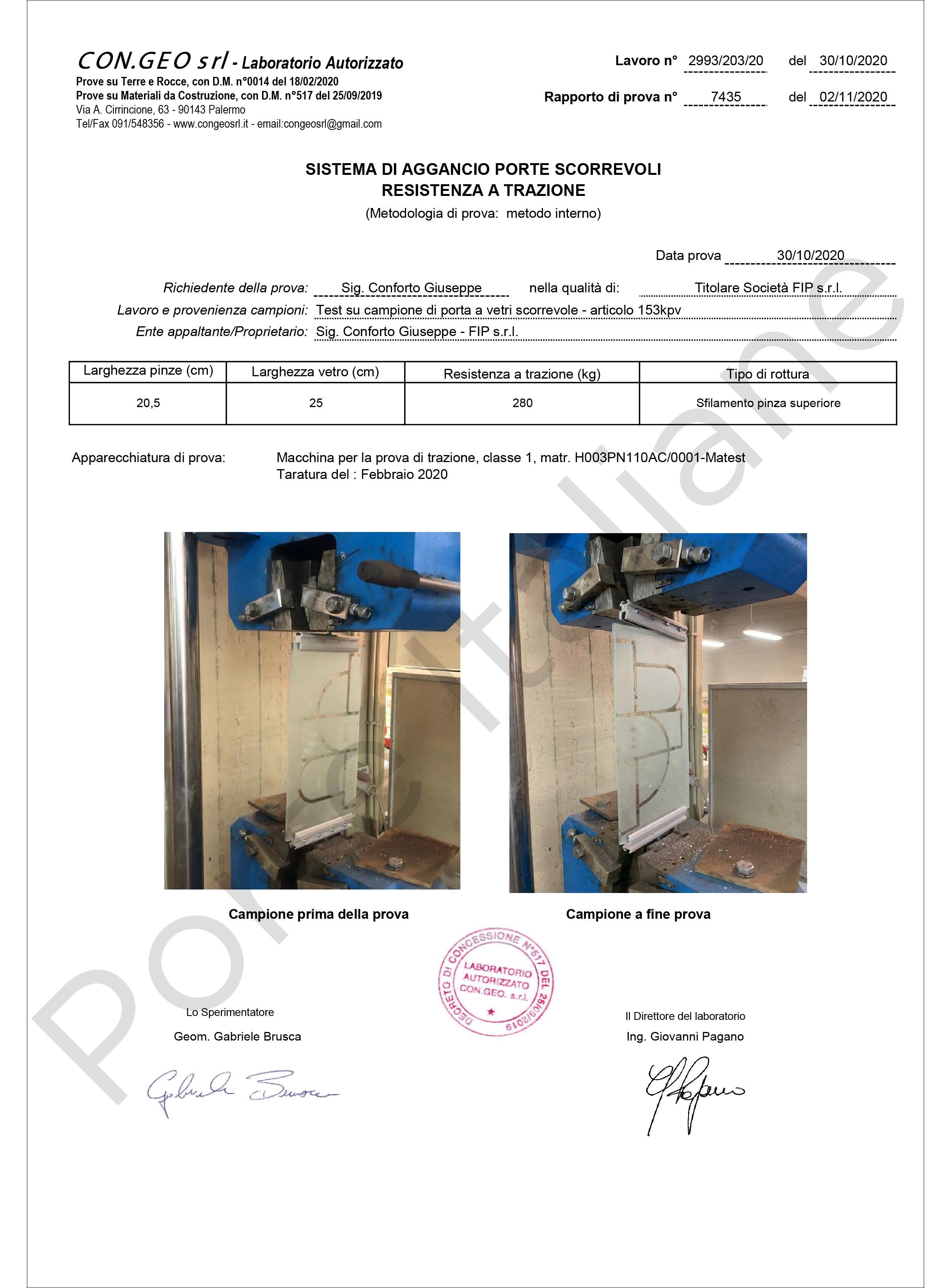 Certificazione Pinza porta vetro scorrevole
