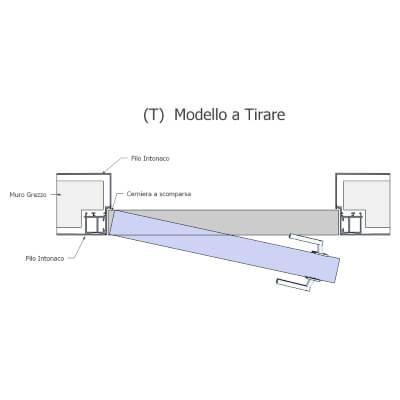 Porte invisibile versione tirare muratura