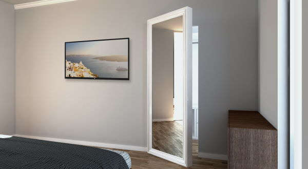 swing door with mirror and frame