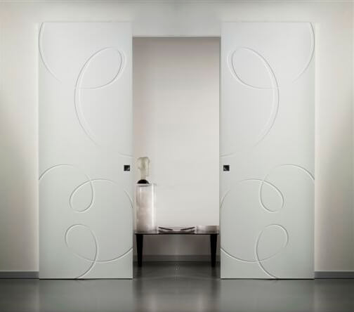 sliding doors outside the wall invisible double door