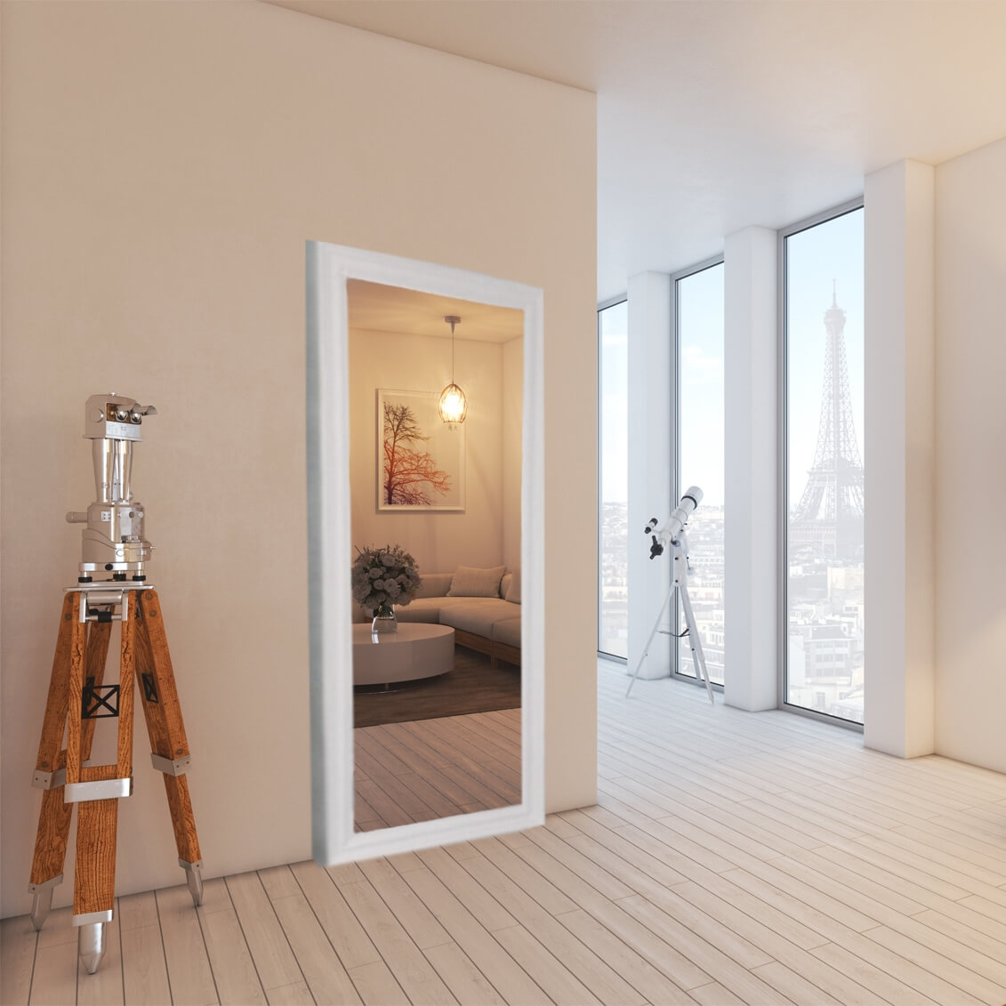 sliding doors outside the wall with mirror