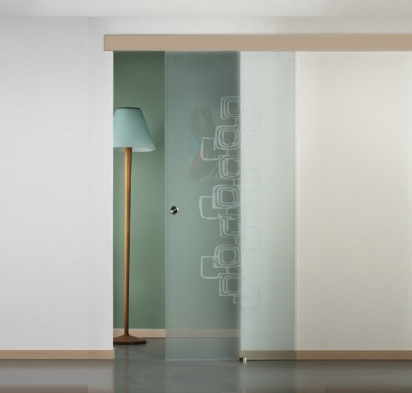 porta vetro scorrevole mantovana rovere sbiancato con disegno