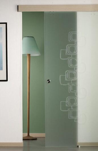flush-fitting sliding doors in satin glass