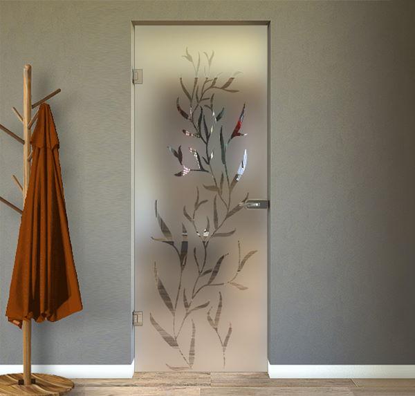 porta in vetro con disegno interna