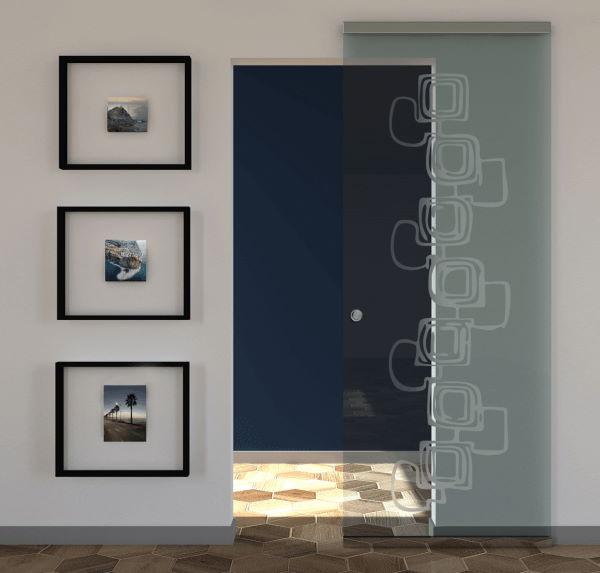porta in vetro scorrevole maniglietta tonda inox