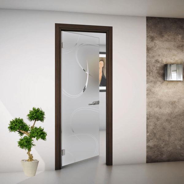 Porta Interna Vetro Satinato E Disegno Trasparente Con Cornice