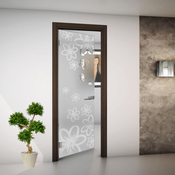 hinged door in frosted glass