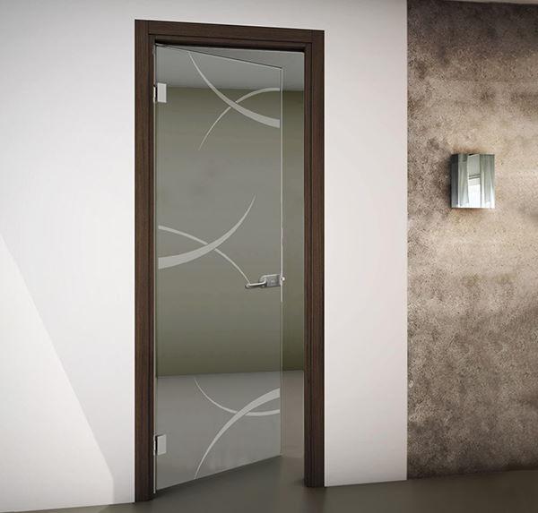 porte interne battenti in vetro con disegno