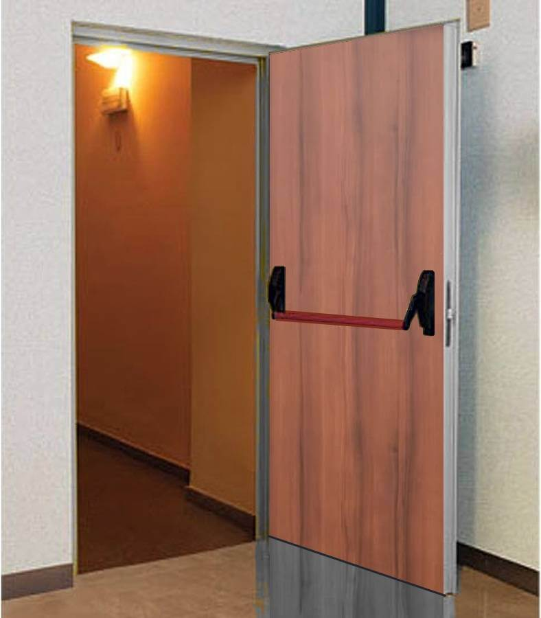 Fire resistant doors covered in wood